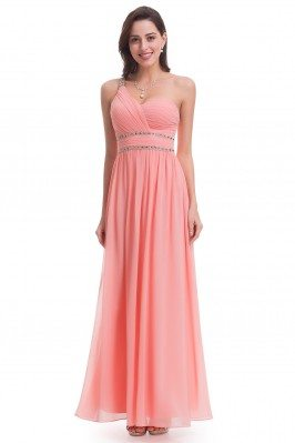 Peach One Shoulder Beaded...