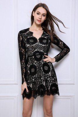 Little Black Lace Long Sleeve Party Dress