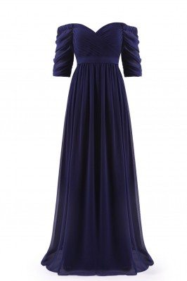 Navy Blue Off-the-Shoulder Evening Gown with Sweetheart Neckline - EP07411NB