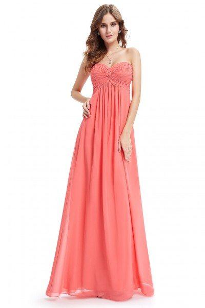 Strapless Elegant Coral Ruffled Long Chiffon Party Dress