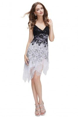 White Flowing Sequined Lace...