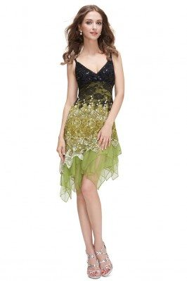Green Flowing Sequined Lace...