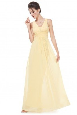 Elegant Yellow Deep V-neck...