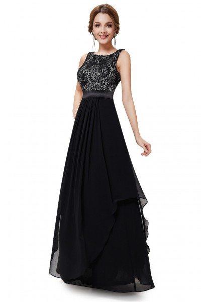 Black Sleeveless Round Neck Long Party Dress