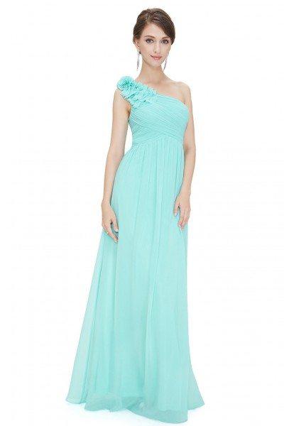 Aqua One Shoulder Long Chiffon Bridesmaid Dress