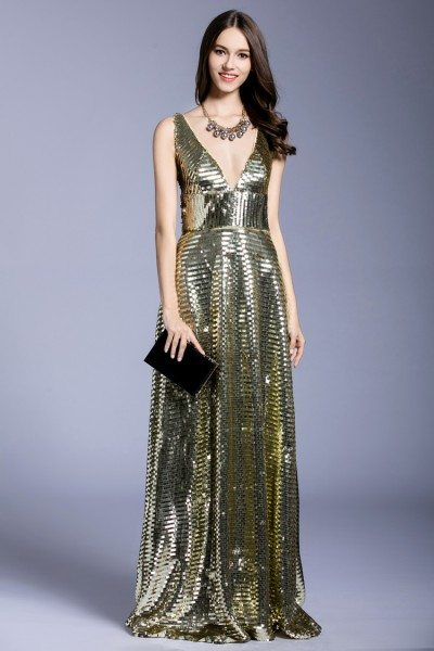 Sparkle Sequins Deep V-neck Evening Dress