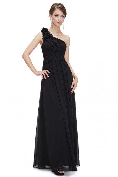 Black One Shoulder Long Chiffon Bridesmaid Dress - EP08237BK