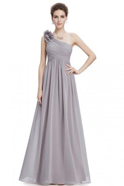 Grey One Shoulder Long Chiffon Bridesmaid Dress