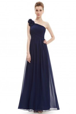 Navy Blue One Shoulder Long...