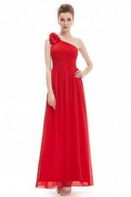 Red One Shoulder Long...