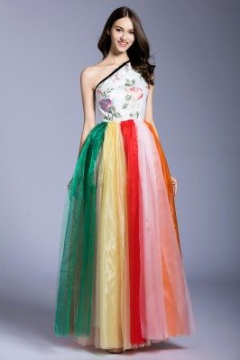 One Shoulder Organza Colorful Long Party Dress