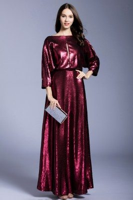 Burgundy Sequins Long Formal Gown With Sleeves