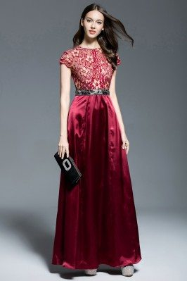 Burgundy Lace Satin Long Dress