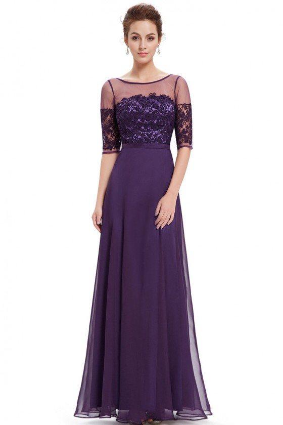 Grey Illusion Neckline Half Sleeves Long Chiffon Formal Dress