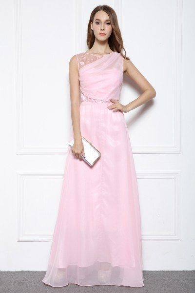 Pink Chiffon V Back Long Party Dress