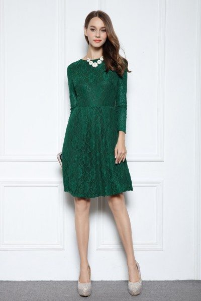 Dark Green Lace Long Sleeve Party Dress