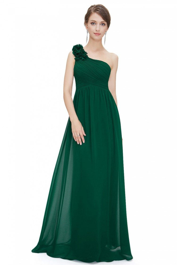 Off-the-Shoulder Faux-Wrap Long Dark Green Prom Dress
