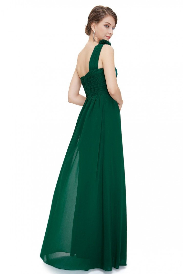 Dark Green One Shoulder Long Chiffon Bridesmaid Dress