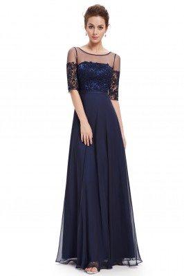Navy Blue Illusion Neckline Half Sleeves Long Chiffon Formal Dress - EP08459NB