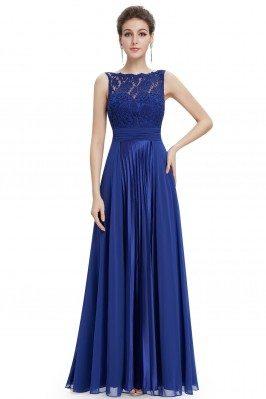 Royal Blue High Neck Lace...