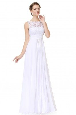 White High Neck Lace Long...
