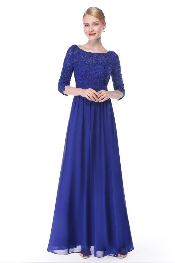 Elegant Royal Blue 3/4 Sleeve Lace Long Evening Dress - EP08412SB
