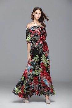 Off Shoulder Floral Printed Silk Long Party Dress