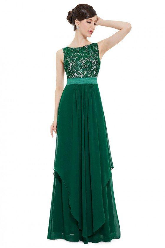 Dark Green Sleeveless Round Neck Long Party Dress