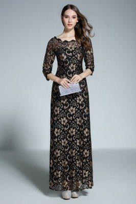 Black Lace Half Sleeve Formal Long Dress