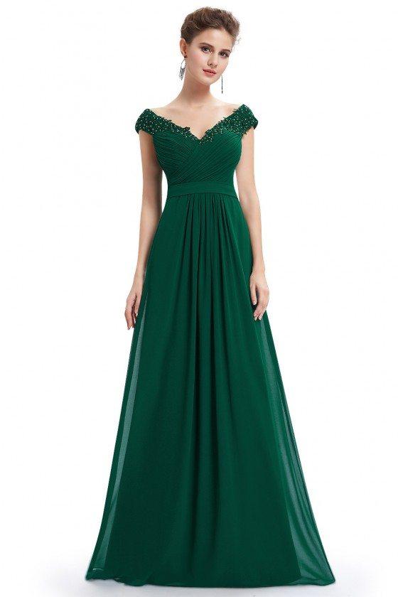 Dark Green Beaded Lace Cap Sleeve Long Prom Dress - EP08633DG