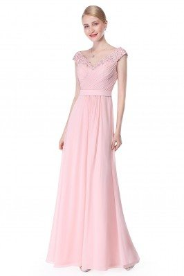 Pink Beaded Lace Cap Sleeve...