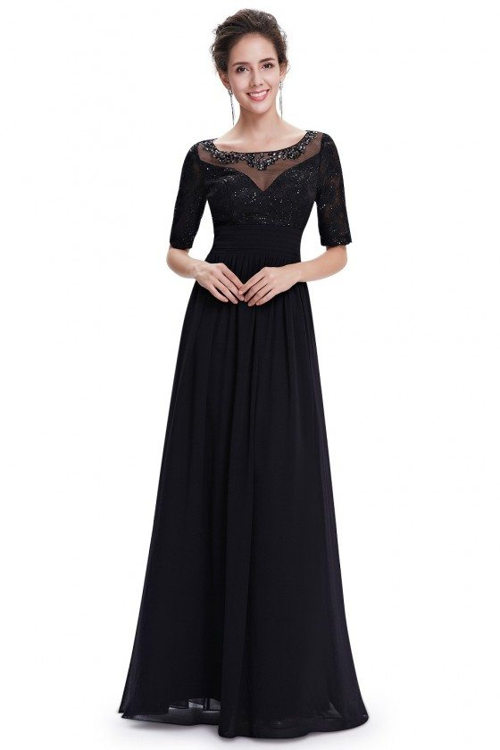 Beaded Long Black Evening Party Dress with Sleeves