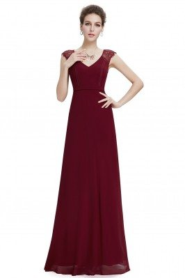 Burgundy Long Chiffon...