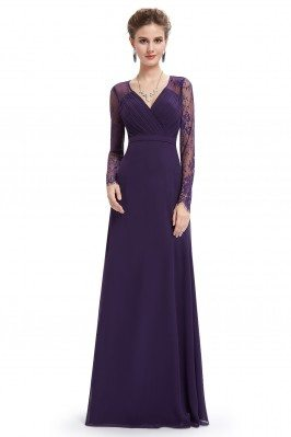 Dark Purple V-neck Lace...