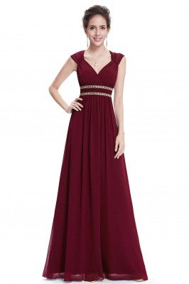 Burgundy V-Neck Beaded...