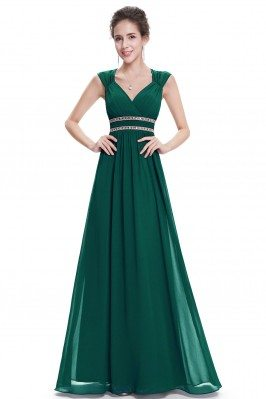 Dark Green V-Neck Beaded...
