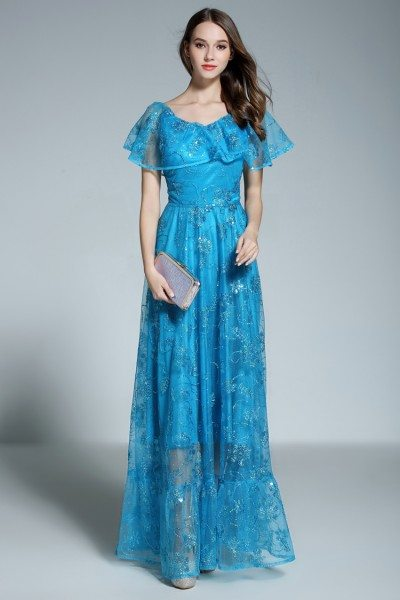 Blue Ruffles Neck Embroidery Long Formal Gown