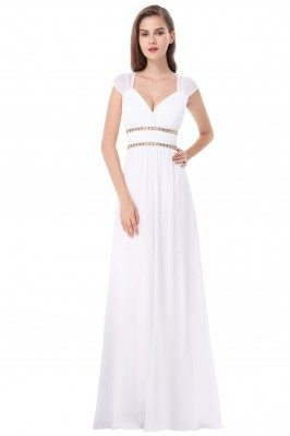 White V-Neck Beaded Waist...