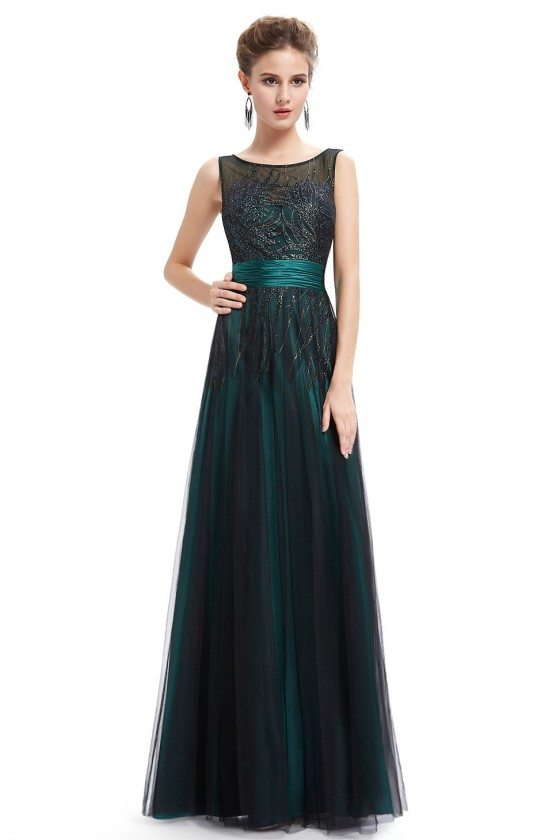 Green Evening Round Neck Long Party Dress