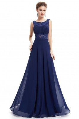 Navy Blue Beaded Lace Long Evening Party Dress - EP08741NB