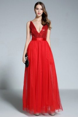 Red Deep V-neck Sequin Tulle Long Dress