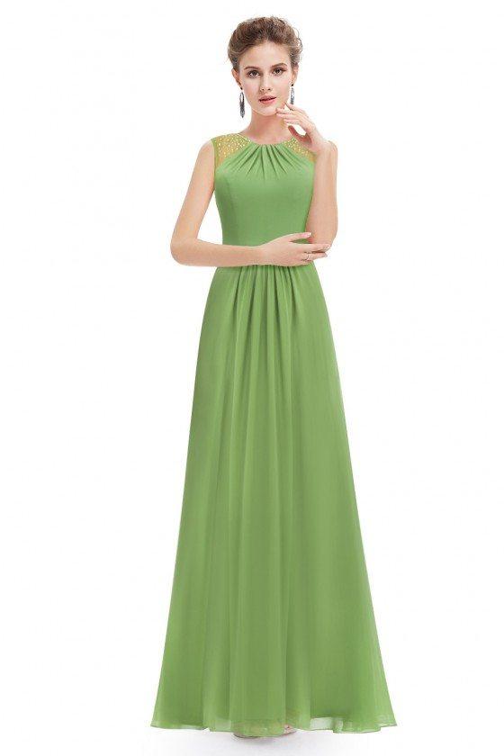 Green Chiffon Round Neck Long Evening Party Dress - EP08742GR