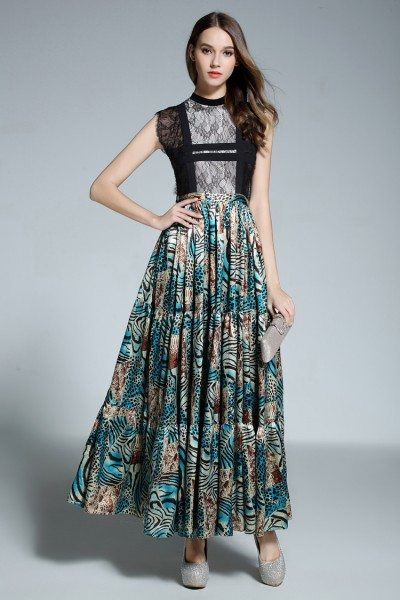Designer Animal Print Lace High Neck Party Dress