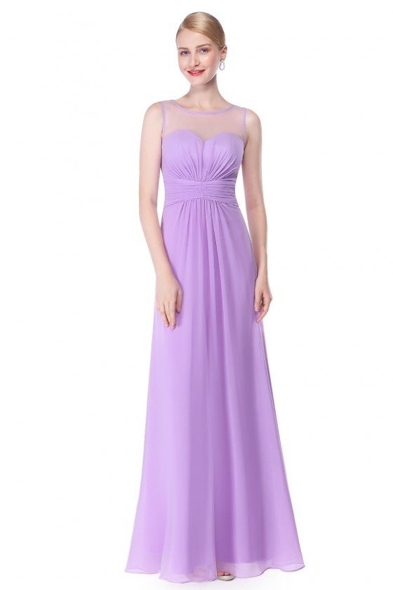 Lavender Illusion Neckline Chiffon Long Prom Dress