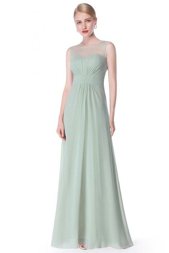 Mint Green Illusion Neckline Chiffon Long Prom Dress