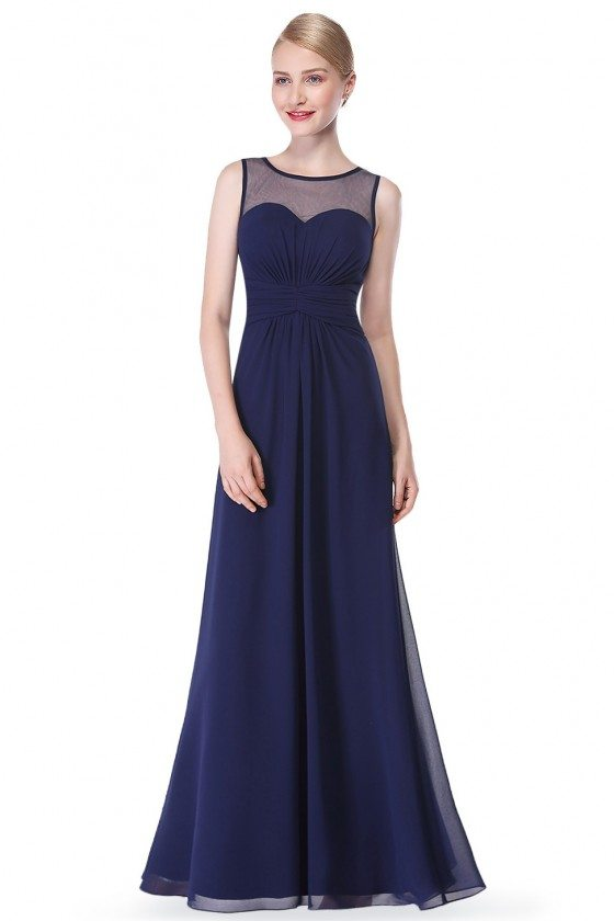 Navy Blue Illusion Neckline Chiffon Long Prom Dress - EP08761NB