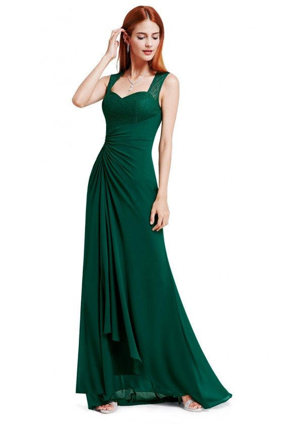 Dark Green Simple Sheer Lace Long Evening Party Dress