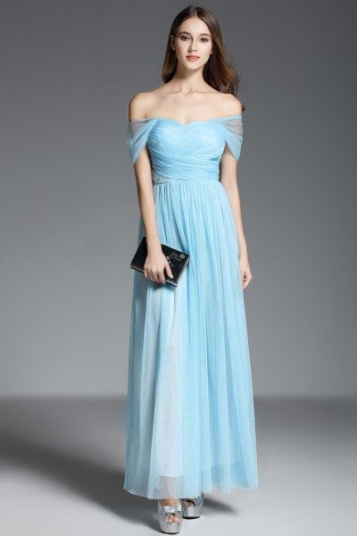 Blue Off Shoulder Long Chiffon Party Dress