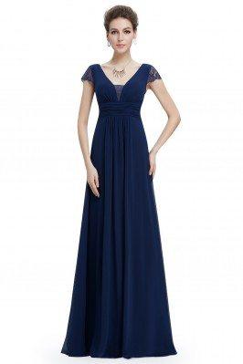 Navy Blue Lace Short Sleeve Long Evening Dress - EP08787NB