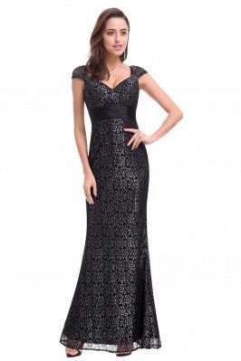 Black Lace Cap Sleeve Long...